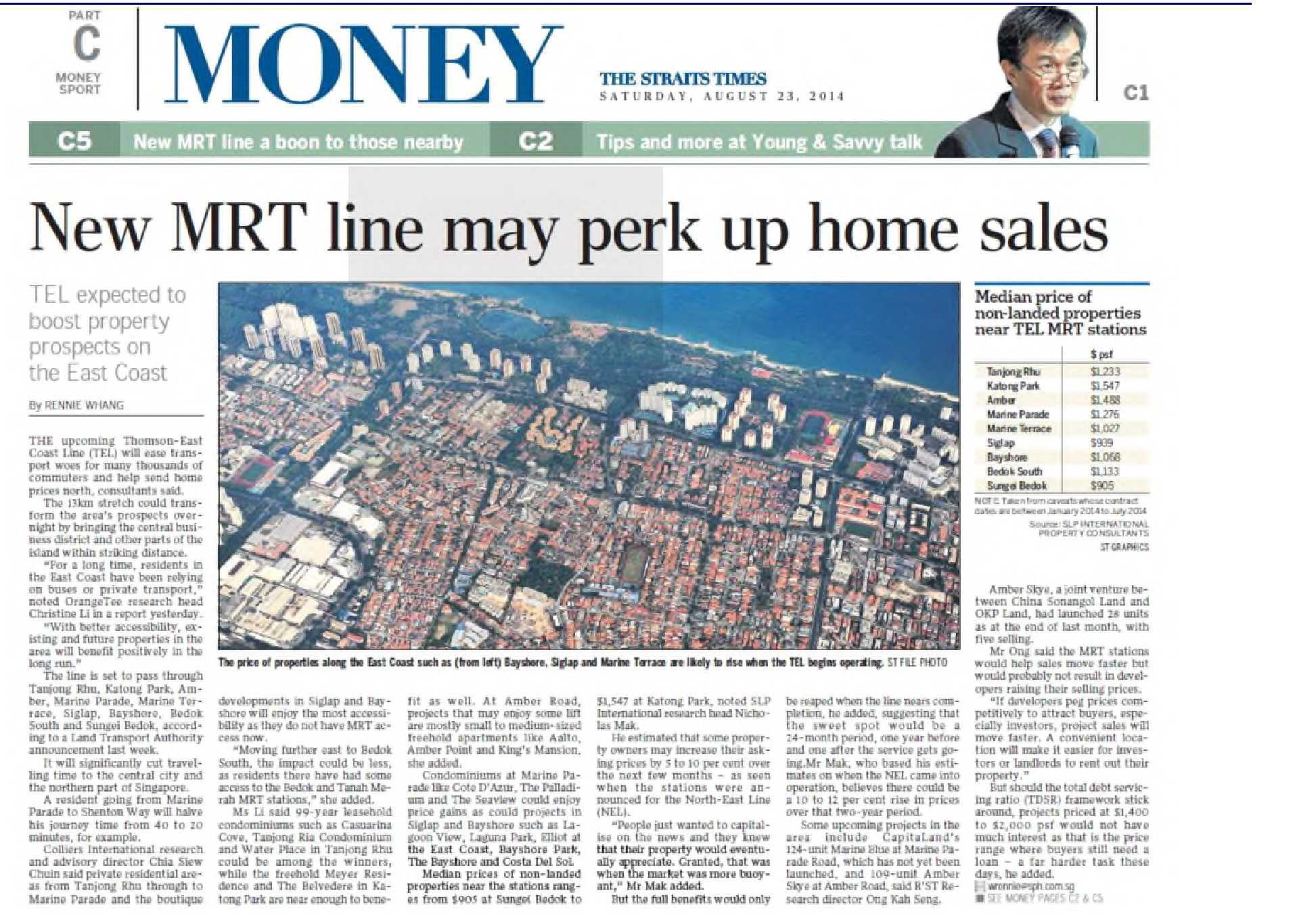 Straits Times - New MRT Line may perk up home sales