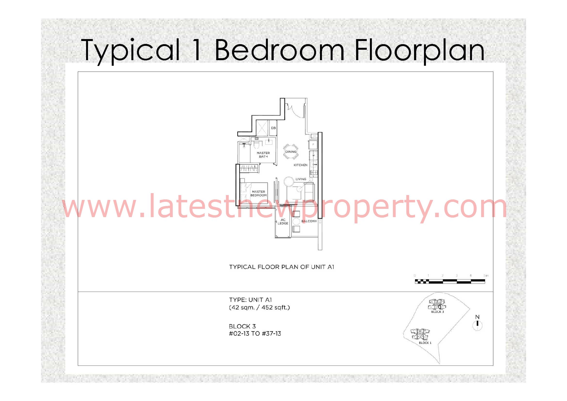 Gem Residences Floorplan Typical 1 Bdrm