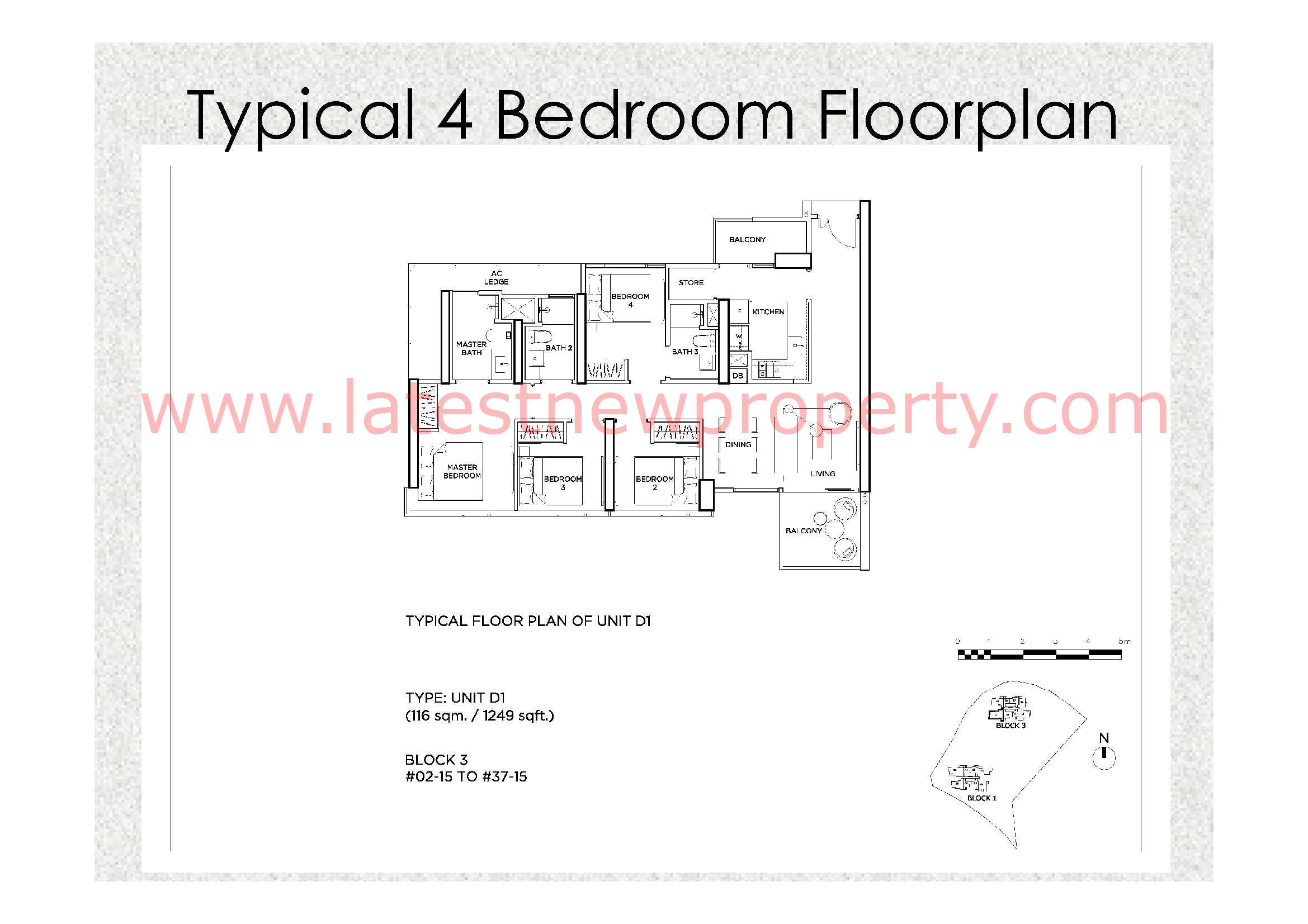 Gem Residences Floorplan Typical 4 Bdrm