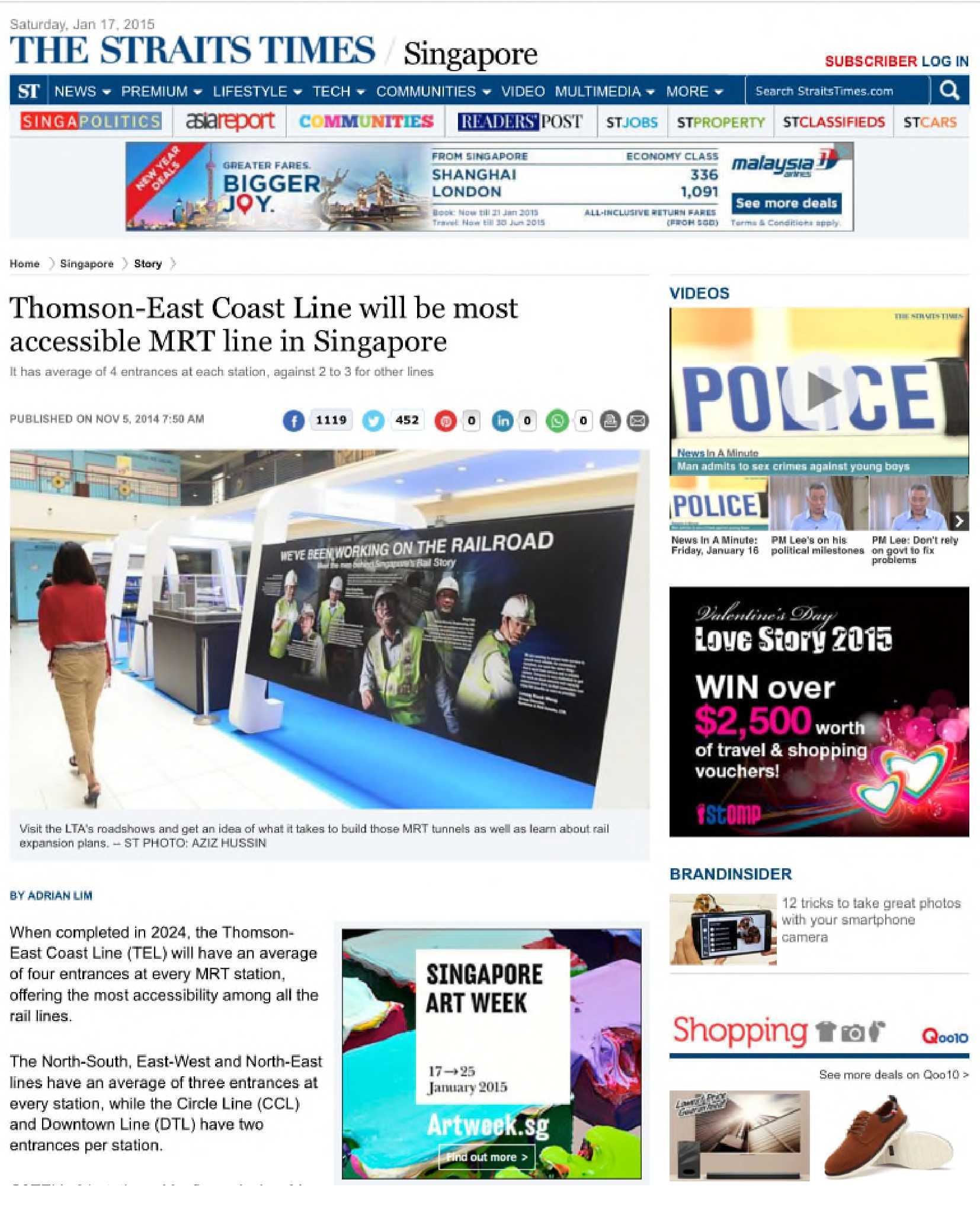 Straits Time - Thomson East Coast Line Will be most accessible MRT in Singapore