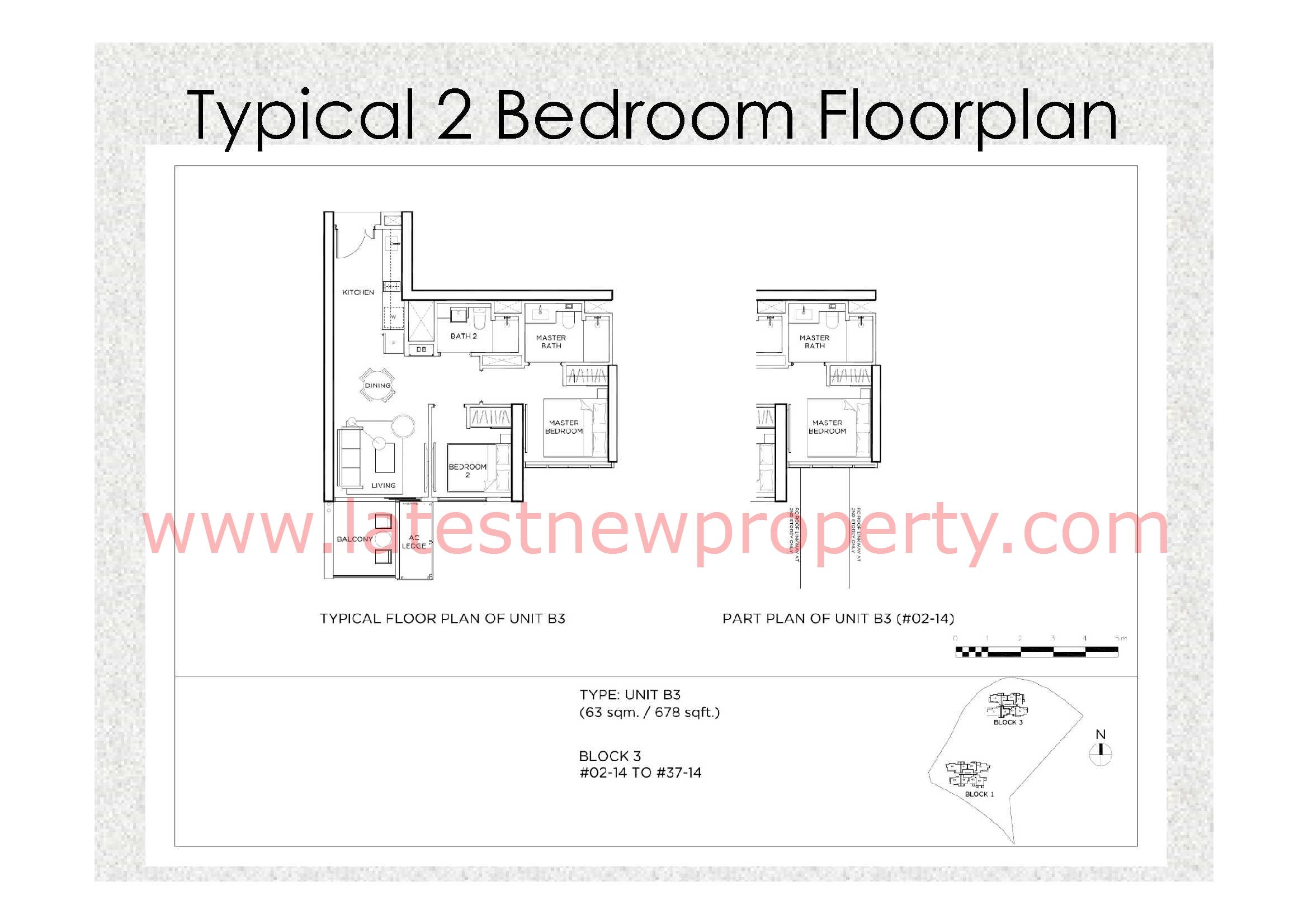 Gem Residences Floorplan Typical 2 Bdrm