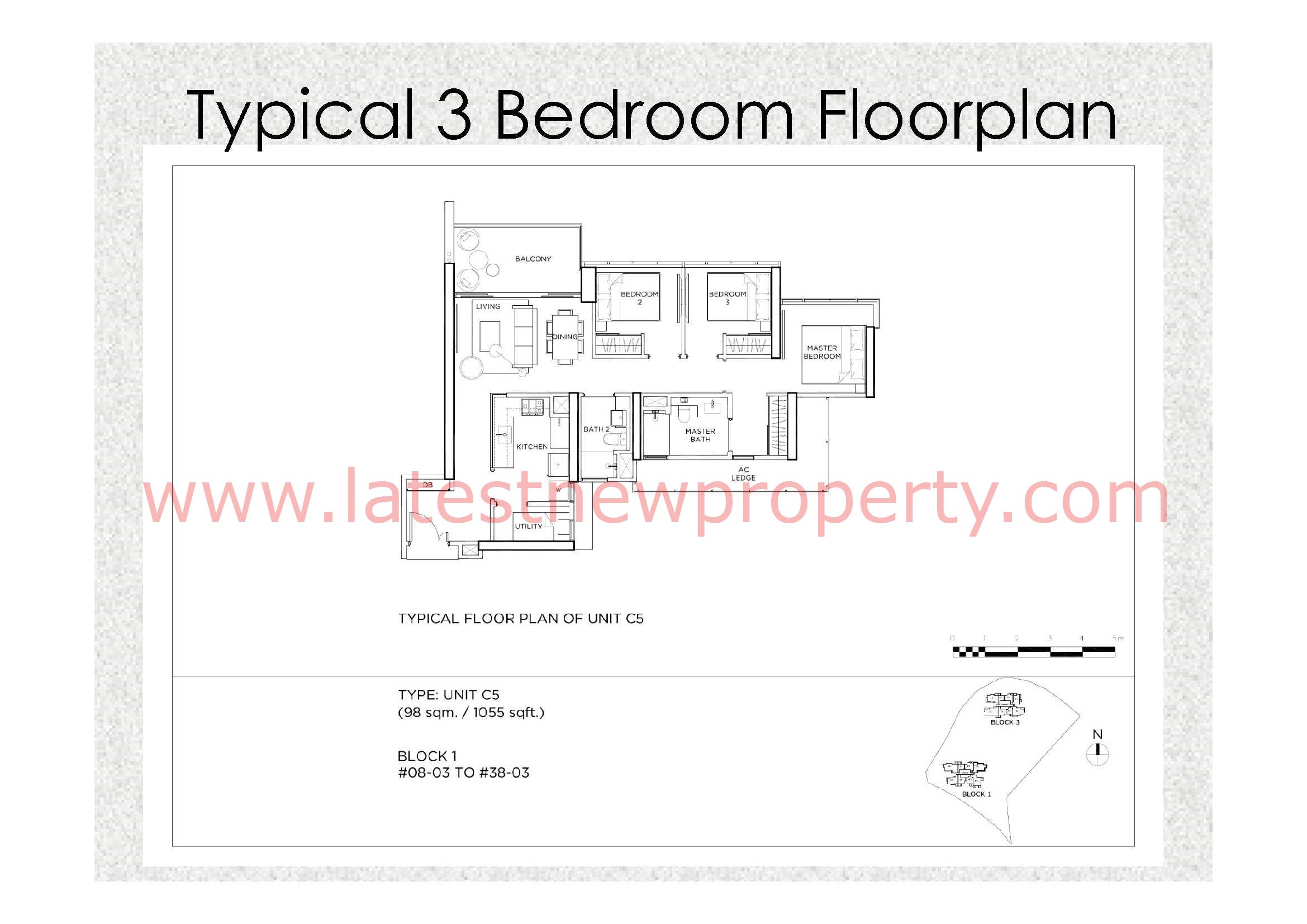 Gem Residences Floorplan Typical 3 Bdrm