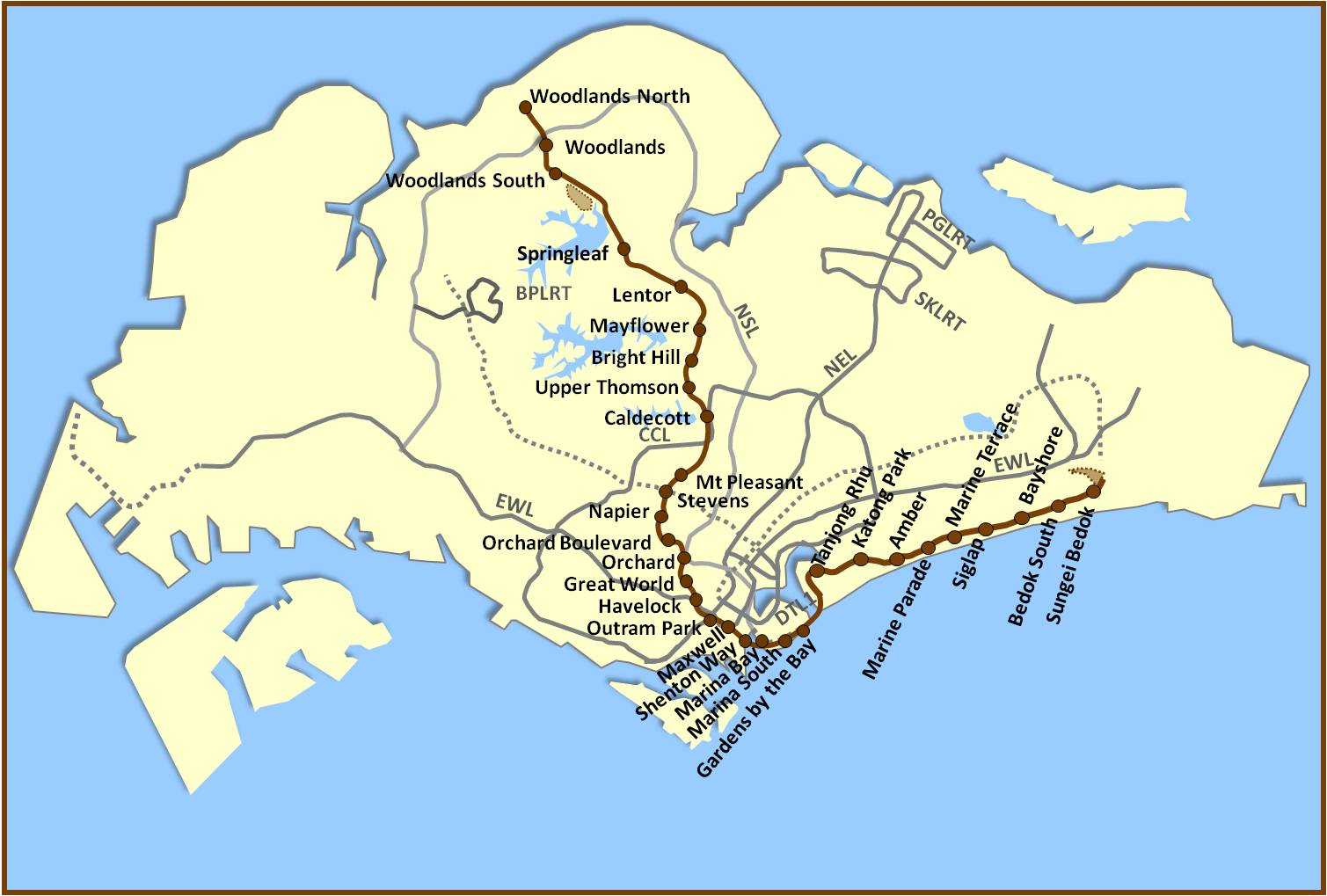 Thomson East Coast Line geographical-map